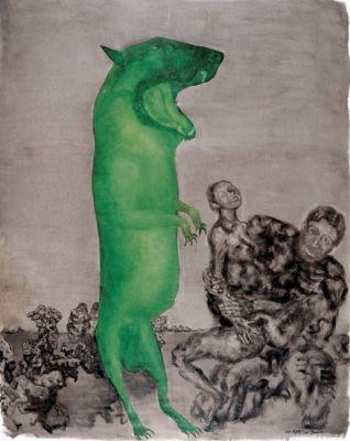 系列共18件作品 系列:绿狗 2005 (18) 雕塑, 铸铜烤漆 艺术家: 周春芽