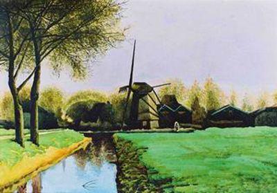 水彩 | 390x270mm 作者用写实的手法向人们展现了荷兰有风车的的风景.
