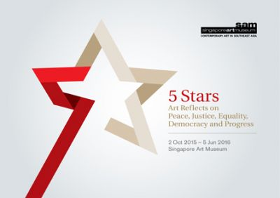 5 STARS - ART REFLECTS ON PEACE, JUSTICE, EQUALITY, DEMOCRACY AND PROGRESS (group) @ARTLINKART, exhibition poster