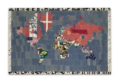 ALIGHIERO BOETTI - EMBROIDERIES INCLUDING MAPPAS, TUTTOS AND A RUG, (solo) @ARTLINKART, exhibition poster