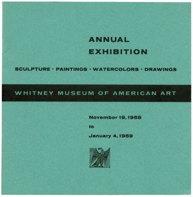 ANNUAL EXHIBITION 1958 - SCULPTURE, PAINTINGS, WATERCOLORS, DRAWINGS (intl event) @ARTLINKART, exhibition poster