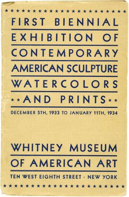 FIRST BIENNIAL EXHIBITION OF CONTEMPORARY AMERICAN SCULPTURE, WATERCOLORS AND PRINTS (intl event) @ARTLINKART, exhibition poster