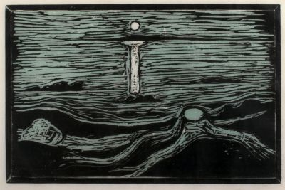 BED AND CLOCK, MOON AND BEACH - EDVARD MUNCH (solo) @ARTLINKART, exhibition poster