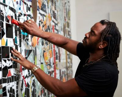 RASHID JOHNSON - WAVES (solo) @ARTLINKART, exhibition poster